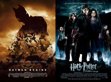 batman begins e harry potter e o cálice de fogo
