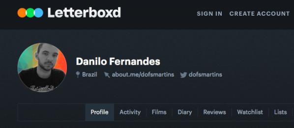 Meu perfil no Letterboxd